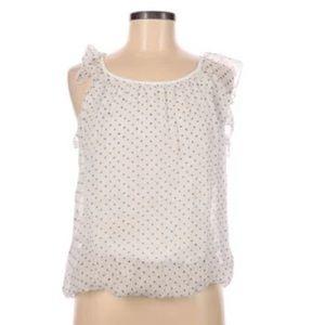 Luisa Ricci Polka Dot Sleeveless Chiffon Silk Top